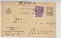 Ungarische Ganzsache Mit Zudruck Aus WIEN 26.11.13 Nach Hannover - 1850-1918 Empire
