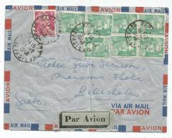 GANDON 4FR EMERAUDE 4FR BLOC DE4+3+3FR LILAS LETTRE AVION PARIS 16.12.1948 POUR SUEDE AU TARIF - 1945-54 Marianna Di Gandon