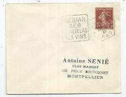 N° 189 LETTRE C. HEX PERLE NEBIAN 30.1.29 HERAULT  DAGUIN  SEUL SES CHASSELAS SES VINS - Storia Postale