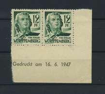 FRZ.ZONE WUERTTEMBERG 1947 Nr 4vv Bru Postfrisch (119284) - Französische Zone