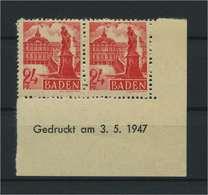 FRZ.ZONE BADEN 1947 Nr 8 Bru Postfrisch (119296) - Französische Zone