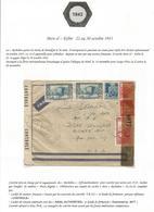 ALGERIE DIVERS  LETTRE AVION C. HEX PERLE BATIMENT LIGNE RICHELIEU 1943  POUR USA CENSURE TB 327 - Marcofilia (sobres)
