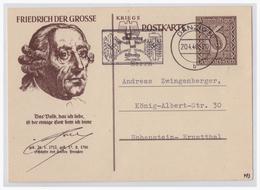 Dt- Reich (001545) Propaganda Ganzsache P285/04 Friedrich Der Große Mit Tagesstempel Danzig Vom 20.4.1940 - Deutschland