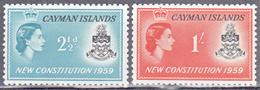 CAYMAN ISLANDS     SCOTT NO.  151-52      MNH    YEAR  1959 - Kaaiman Eilanden
