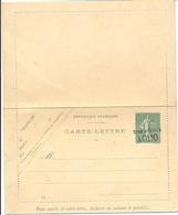 ENTIER CARTE-LETTRE 15 C Semeuse Lignée Surchargée À 0f10 Taxe Réduite YT 130-CL1 Date 514 - Neuf - - Postal Stamped Stationery