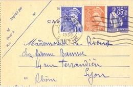 ENTIER CARTE-LETTRE TYPE PAIX 65 C. Bleu YT 365-CL1 + Complément Afft Type Mercure OMec FLIER 24 VIII 1939 - Cartoline-lettere