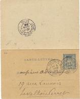 ENTIER CARTE-LETTRE TYPE SAGE 15 C. TàD PARIS_25 104 Bd ST GERMAIN Du 9 JUIN 89 - Entiers Postaux