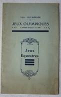 JEUX OLYMPIQUES ANTWERPEN 1920 Olympic Games Règlement Jeux équestres Equitation Horse Cheval - Alte Papiere