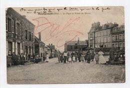 - CPA MONTJAVOULT (60) - La Place Et Route Du Marais 1911 (belle Animation) - Edition J. Bourgeix - - Montjavoult