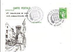 ENTIER SABINE REPIQUE 50 ANS CLUB PHILATELIQUE DE VICHY ALLIER 1978 - Cartes Postales Repiquages (avant 1995)