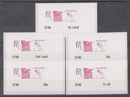 Singapore 2020 Rat Year Zodiac ATM Frama Machine Labels Mint - 5 Values - ATM - Frama (labels)