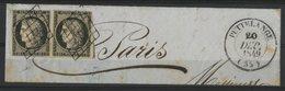 """Paire Du N°3 20ct Noir Cote 150 €. Sur Fragment Avec C-à-d (T14) """"PUTTELANGE (55) 20/12/1849) - 1849-1850 Cérès"""