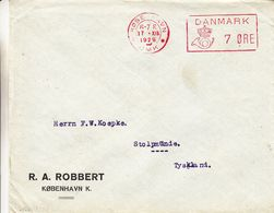 Danemark - Lettre De 1929 ° - Oblit Kobenhavn - Exp Vers Tyskland - EMA - Empreintes Machines - Cor De Poste - Affrancature Meccaniche Rosse (EMA)