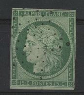 N°2 15ct Vert Cote 1100 €. Oblitéré étoile De Paris. Lire Description - 1849-1850 Ceres