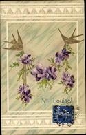 Gaufré Buchstaben Lithographie Sainte Louise, Schwalben Mit Veilchen - Postales
