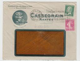 NANTES: Conserves CASSEGRAIN :  LSI De 1928 Affranchie Au Tarif - Marcofilie (Brieven)