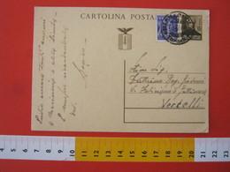 PC.3 ITALIA RSI CARTOLINA POSTALE - 1944 MAZZINI 30 CENT BRUNO FRANCOBOLLO AGGIUNTO DA CARMAGNOLA TORINO 16/12 1945 X VC - 4. 1944-45 Repubblica Sociale