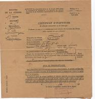 Ministere De La Guerre - 1933 -  Certificat D'Inaptitude D'un Véhicule Automobile - Bordeaux - Vieux Papiers