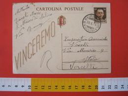 PC.3 ITALIA RSI CARTOLINA POSTALE - 1944 VINCEREMO SOVRASTAMPATA ROSSO FASCIO TESTO DA S. MAURO DI SALINE VERONA 30/6 - 4. 1944-45 Repubblica Sociale