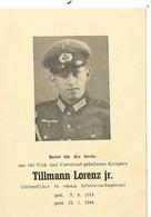 Sterbebild ,carte De Décès Unteroffizier Décoré EK 2 . Cavalerie  1944 . DEATH CARD . - 1939-45
