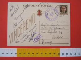 PC.3 ITALIA RSI CARTOLINA POSTALE - 1944 VINCEREMO SOVRASTAMPATA ROSSO FASCIO DA CERVIGNANO ADDA MILANO LODI 5/8 CENSURA - 4. 1944-45 Repubblica Sociale