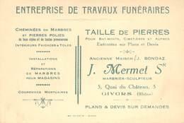 """CPA / CARTE DE VISITE FRANCE 69 """"Givors, Marbrier Funéraire Sculpteur Taille De Pierres, J. MERMET, Quai Du Chateau"""" - Givors"""