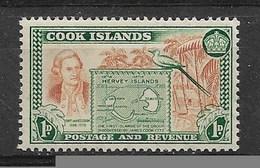 V14 - Iles Cook - Poste 76 ** MNH De 1949 - Portrait De COOK Et Carte Des Îles Hervey - - Cook