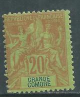 Grande Comore N° 7 X Type Groupe 20 C. Brique Sur Vert,  Trace De Charnière Sinon TB - Grote Komoren (1897-1912)