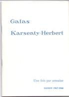 Programma Programme - Galas Karsenty Herbert - Une Fois Par Semaine - Fernand Gravey  Saison 1967 - 1968 - Programma's