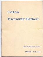 Programma Programme - Galas Karsenty Herbert - Les Monstres Sacrés - Arletty  Saison 1965 - 1966 - Programma's