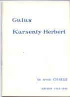 Programma Programme - Galas Karsenty Herbert - Au Revoir Charlie - Georges Descrières  Saison 1965 - 1966 - Programma's