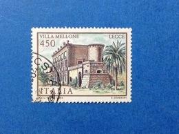 1984 ITALIA VILLE LECCE VILLA MELLONE FRANCOBOLLO USATO ITALY STAMP USED - 6. 1946-.. Repubblica