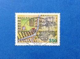 1984 ITALIA CIVILTA CONTADINE 350 LIRE FRANCOBOLLO USATO ITALY STAMP USED - 6. 1946-.. Repubblica