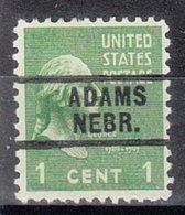 USA Precancel Vorausentwertung Preo, Locals Nebraska, Adams 729 - Vereinigte Staaten