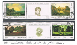 URSS - SG 6222.6225 - 1991 S. SCHEDRIN & A. KUINDZHI, PAINTERS (COMPLET SET OF 4; 2X2 SE-TENANT + LABEL)  - USED- RIF.CP - Usati