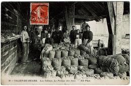 CPA Salies-de-Béarn 64.  Les Salines, Le Pesage Des Sacs, Animée, 1914 - Salies De Bearn