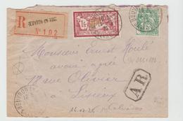 BEUVRON EN AUGE :  LRI De 1925 Affranchie Au Tarif  + AR Pour Lisieux - Marcophilie (Lettres)
