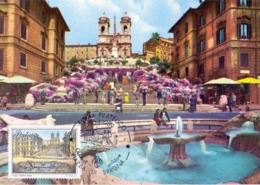 ROMA PIAZZA DI SPAGNA TRINITA DEI MONTI  1989 MAXIMUM POST CARD (GENN200420) - Esposizioni Filateliche