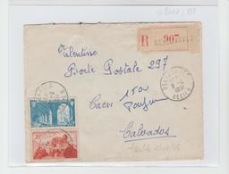 BELLENAVE :  LRI De 1951 Affranchie Au Tarif  Pour Caen - Postmark Collection (Covers)