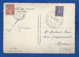 Carte  Avec Affranchissement   Avec Timbre N° 652 + Pétain R.F  ET Vignette Aide Aux Prisonnier  Oblitération: 20/9/1945 - Poststempel (Briefe)