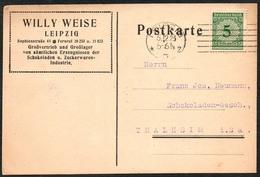 D2701 - Leipzig Willy Weise - Bedarfspost Firmenpost Schokoladen Zucker - Preisliste - Deutschland