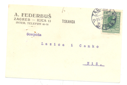 JUDAICA A . FEDERBUS ZAGREB  YEAR 1930 - Kroatien
