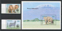 TANZANIE 1992 N° 1150/1151 Bloc 175 ** Neufs MNH Superbes C 9,75 € Faune Eléphants Zèbre Sommet Terre Rio Animaux - Tanzania (1964-...)
