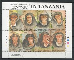 TANZANIE 1992 N° 1029/1036 ** Neufs MNH Superbes C 13 € Faune Chimpanzés De Gombé Melisa Mike Léo Flo Faben Animaux - Tanzania (1964-...)