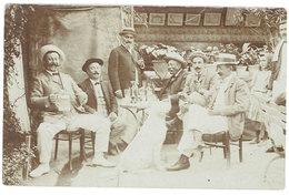 Cpa Carte-photo Terrasse De Bistrot (?), Hommes Attablés, Bière, Absinthe ? ( CPH ) - Cafés