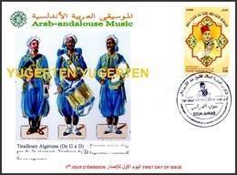 ALGERIA 2014 FDC Arab-Andalousian Music Arabisch-Musik - Música árabe-andaluz Tambour Tirailleurs Tirailleur - Buste