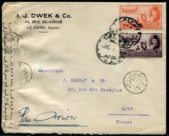 EGYPTE - PA N°29 + 36 / LETTRE AVION DU CAIRE LE 3/3/1947 POUR LYON AVEC CENSURE - B - Poste Aérienne