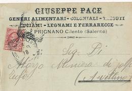 1918 PRIGNANO CILENTO  CARTOLINA COMMERCIALE PUBBLICITARIA ALIMENTARI LEGNAMI - Italia