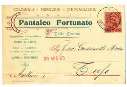 1892 VALLO LUCANO  CARTOLINA COMMERCIALE PUBBLICITARIA COLONIALI MERCERIA - Italia