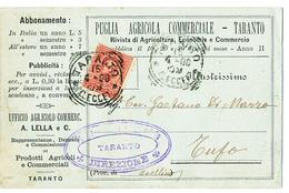 1898 TARANTO  CARTOLINA COMMERCIALE PUBBLICITARIA RIVISTA AGRICOLTURA - Italia